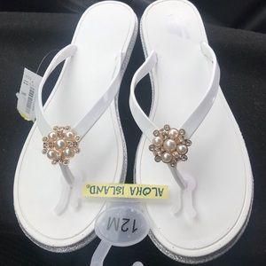 Aloha island white sandals with embellished toe